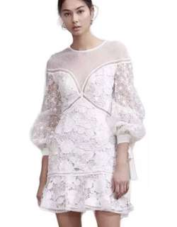 PO - High Quality New White Lace Lantern Sleeve Party Dress