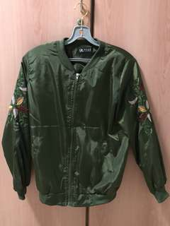 embroidered bomber jacket army green