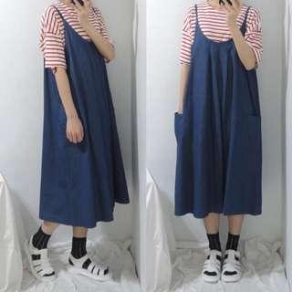 。error dot。日本丹寧細肩吊帶洋裝