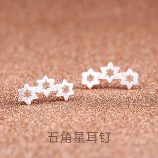 S925 Three Stars Earstud