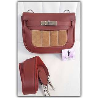 Hermes Mini Berline Rouge H Doublis # Q PHW