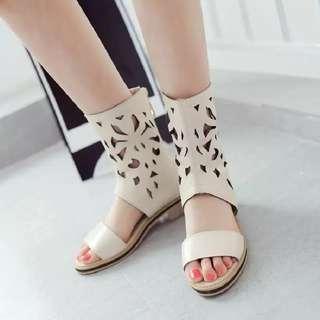 Cutout Patterned Roman Sandals