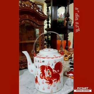 "1960s Beautiful Hand-Painted Red Lion Porcelain Teapot. Good Condition and just has a very small & shallow 0.5"" chip at the edge on top of lid. Not small, Medium size.  $68 Clearance Offer! Sms 96337309."