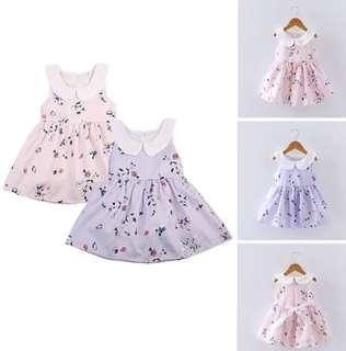 Baby Girl Dress Pink Purple Tie Ribbon Flower Floral Collar Kids Toddler Children [PO]