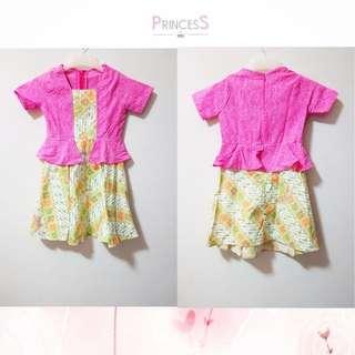 Dress batik anak warna pink
