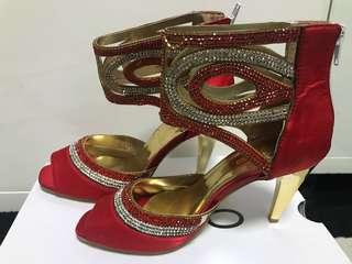 紅閃鑲石裝飾晚裝鞋(EU 37)