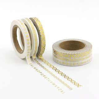 3 rolls skinny washi glitter gold patterns combo pack 5mm x 10m each roll, 3 rolls in one shrink wrap QC101347