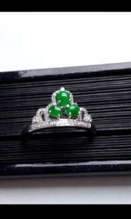 🍍18K White Gold - Grade A 冰种 Icy Green Cabochon Jadeite Jade Crown Ring🍍