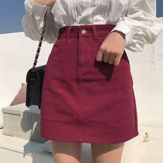 [PO] Multi-Coloured Denim A-Line Skirt