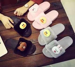 PO LINE Friends Plush Fur Slippers