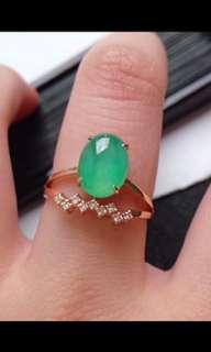 🎇18K Gold - Grade A 水润 Green Cabochon Jadeite Jade Trendy Ring🎇