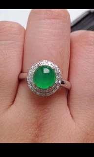 🍀18K White Gold - Grade A 冰种 Icy Green Cabochon Jadeite Jade Crown Ring🎋