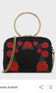 rose embroidery sling bag