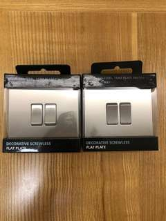 BG, Screwless Flat Plate 10A Double Light Switch, Brushed Steel Finish