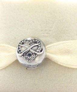 BNIS pandora HEART AND INFINITY SIGN SILVER CLIP WITH CLEAR CUBIC ZIRCONIA