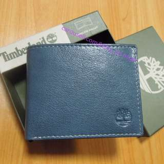 AUTHENTIC Timberland Men's Leather wallet Bifold passcase navy blue