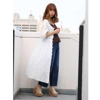 🚚 dazzlin 花刺繡開襟洋裝(可當罩衫)-白