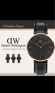 Daniel Wellington classic black 36mm black leather strap