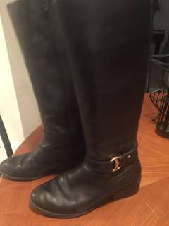 Ralph Lauren black leather boots size 8