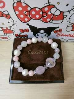 超美粉色日本大森Omori co&kitty水晶珍珠手鍊手環
