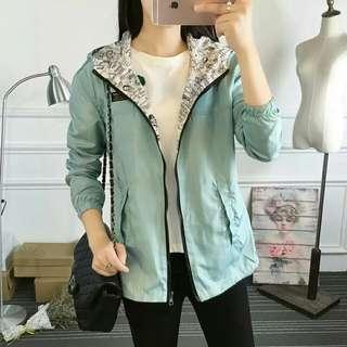 Autumn Women Bomber Basic Jacket Pocket Zipper Hooded Two Side Wear Cartoon Print Outwear Loose Coat