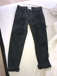 One Teaspoon Awesome Baggies Black Boyfriend jeans size 26