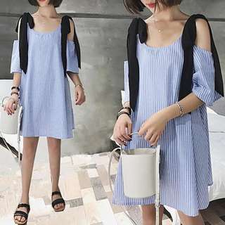 (XL~4XL) Summer Fashion Loose Stripe Drawstring Shoulder Midi Long Dress