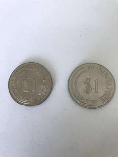 S$1 Merlion Marine Series Coin-2pcs (1969 & 1977)