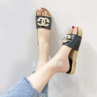 PO Fashion Straw Ladies Sandals