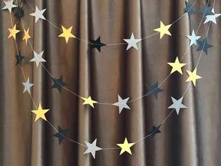 4m black/gold/silver star garland