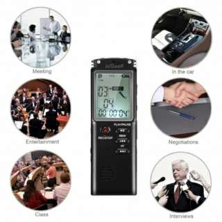 ieGeek Digital Voice Recorder Voice Activated 8GB 1536Kbps Long Life Rechargeable Mp3 / WMA Sound Audio Recorder with Microphone and LCD Screen, Plug and Play