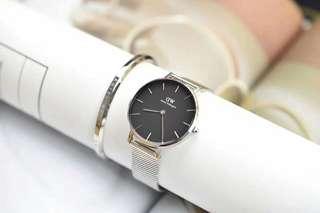 Daniel Wellington 32mm black silver stainless watch +cuff