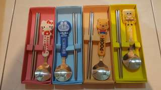cartoon chopstick and spoon set