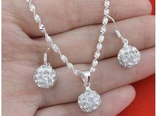 925 Silver Set(Necklace w/ pendant,earring)