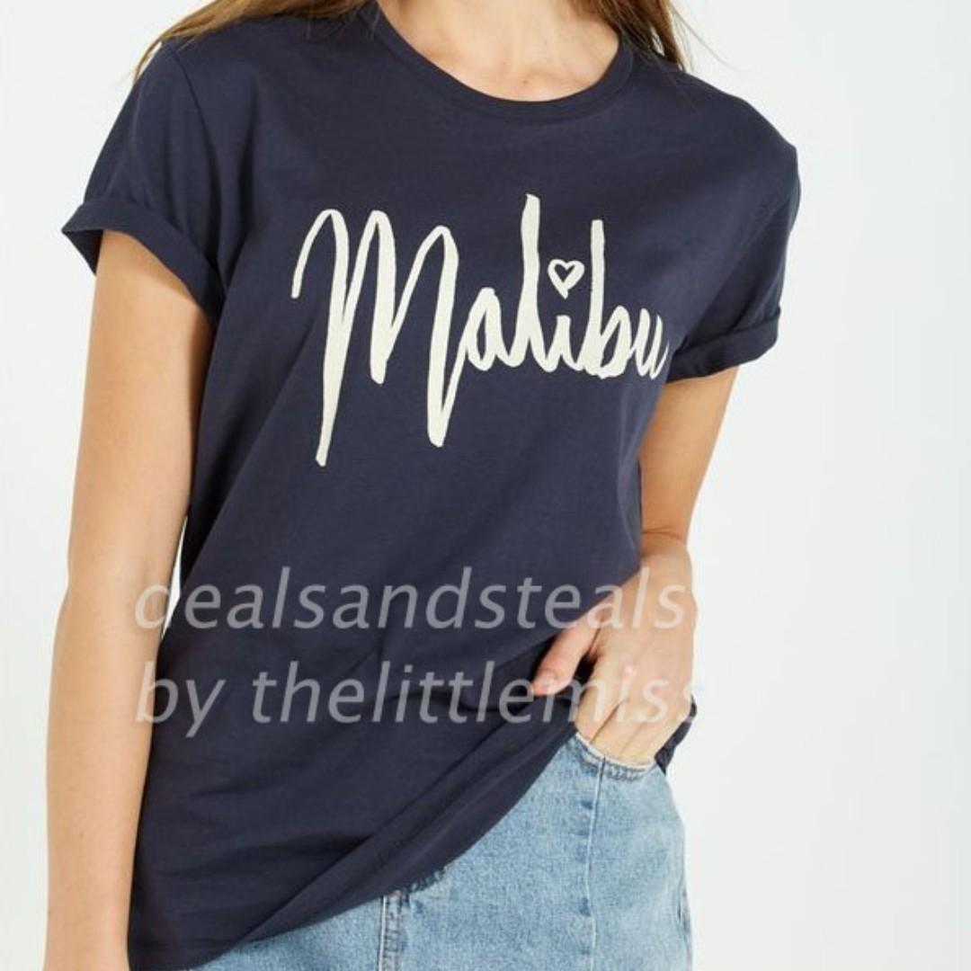 9538a1926a94 50% OFF T-bar x Cotton On Navy Blue Malibu Tee, Women's Fashion ...
