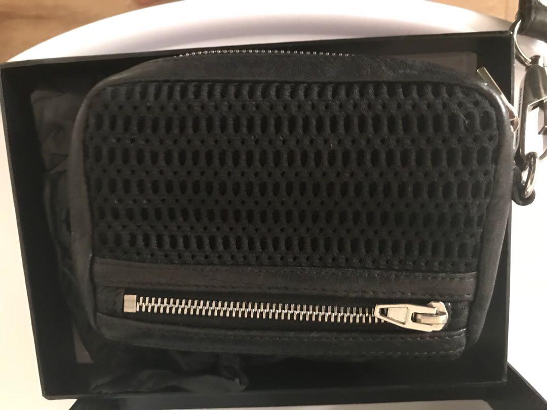 Alexander wang wristlet mesh black wallet