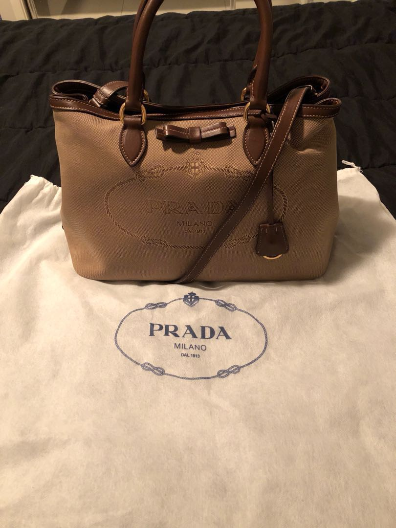 36c60e6dbe69 Authentic Prada Logo Jacquard Corda Bruciato Leather and Canvas ...