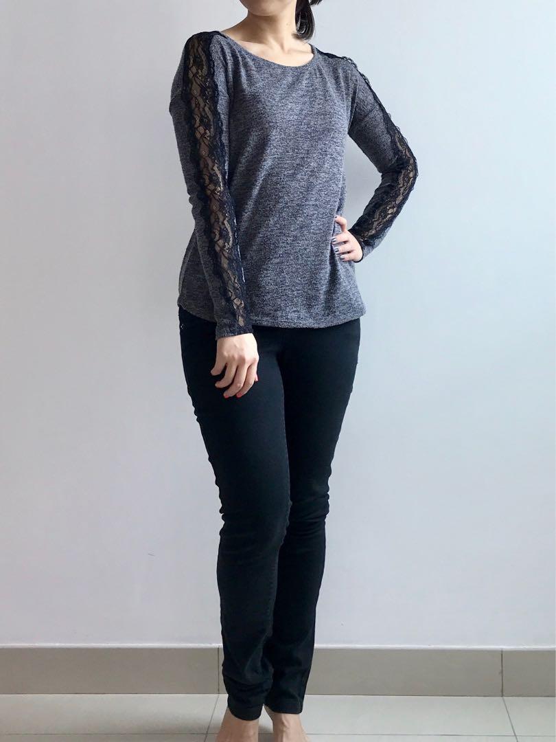 Bershka black lace grey sweater knit top