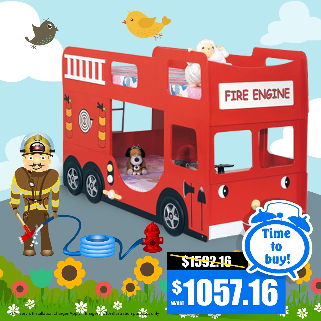 Fire Engine Bunk Bed Furniture Beds Mattresses On Carousell