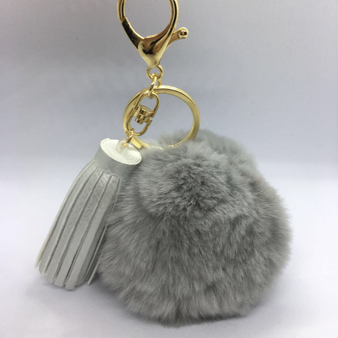 Free Mailing! Furball Pompom Keychain with Tassel - Gray d62e03d0d0