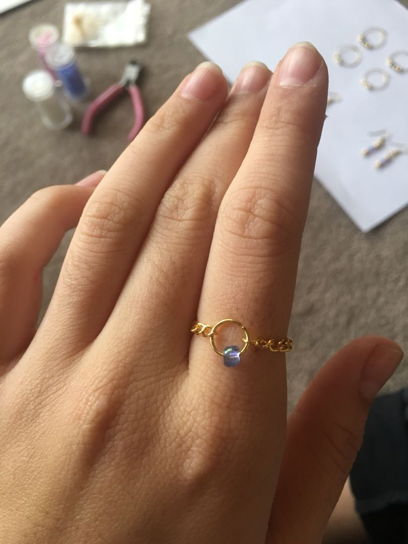Gold chain beaded ring