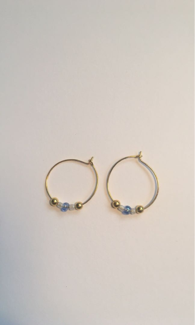 Gold hoops beaded earrings