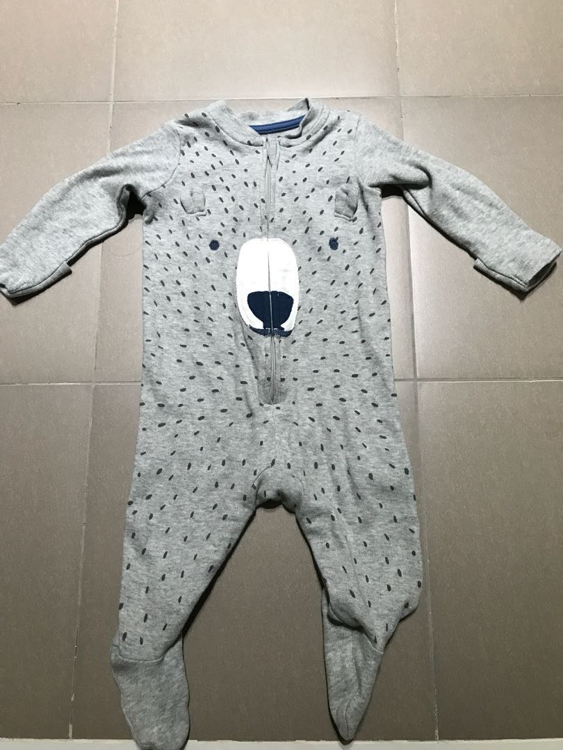 9831321390d0 Grey Animal Mothercare Footed Sleepsuit