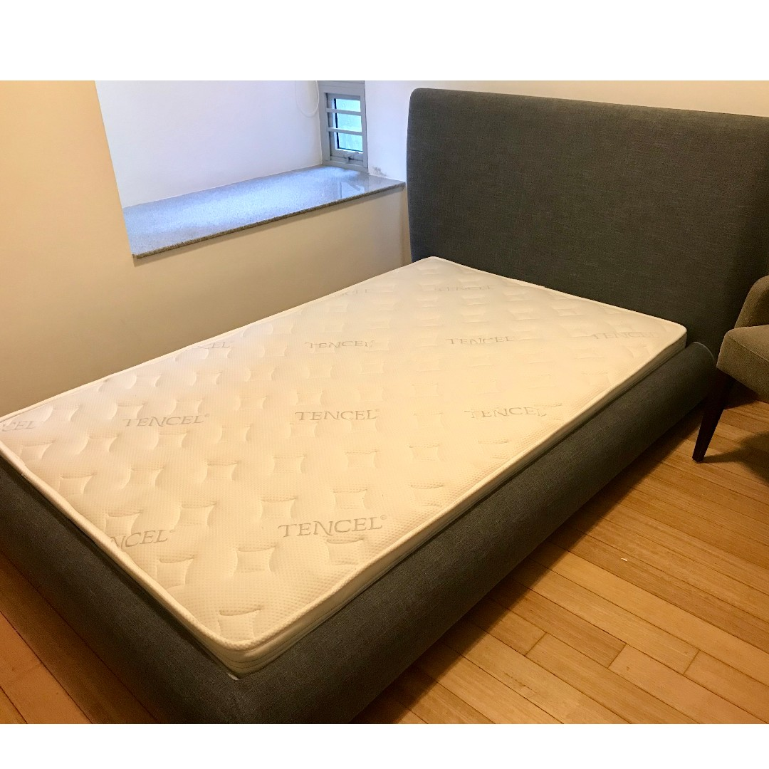 Picture of: Grey Uk Small Double Mattress Bed Frame 120 X 190 Furniture Beds Mattresses On Carousell