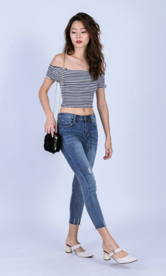f47d7e00e39e3 INSTOCK) BNWT Alexa Striped Smock Ruffle Off shoulder top black blue ...