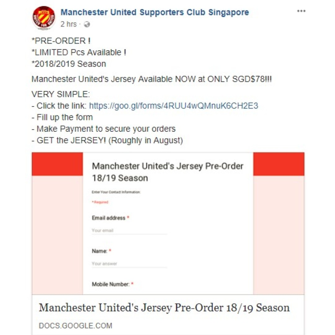61d74f1dd4e Manchester United 2018 19 Home Away 3rd Kit PRE-ORDER campaign ...