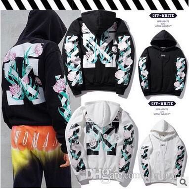 Off White Floral Flower Print White Hoodie Mens Fashion Clothes