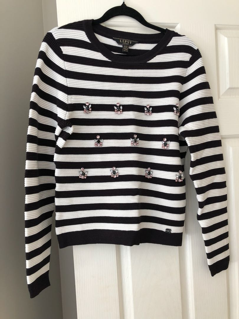 Striped Embellished Jumper