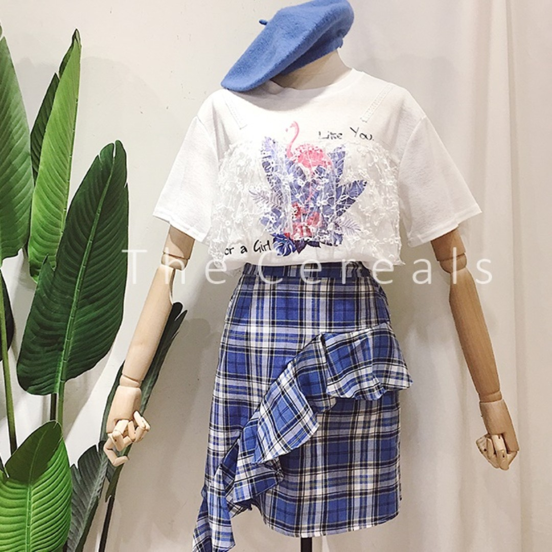 59be6bf95a4c TC2313 Korea 2 Pieces Lace Top + Checkers Frill Skirt (Blue