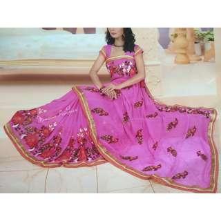 Pink chiffon embroidered saree